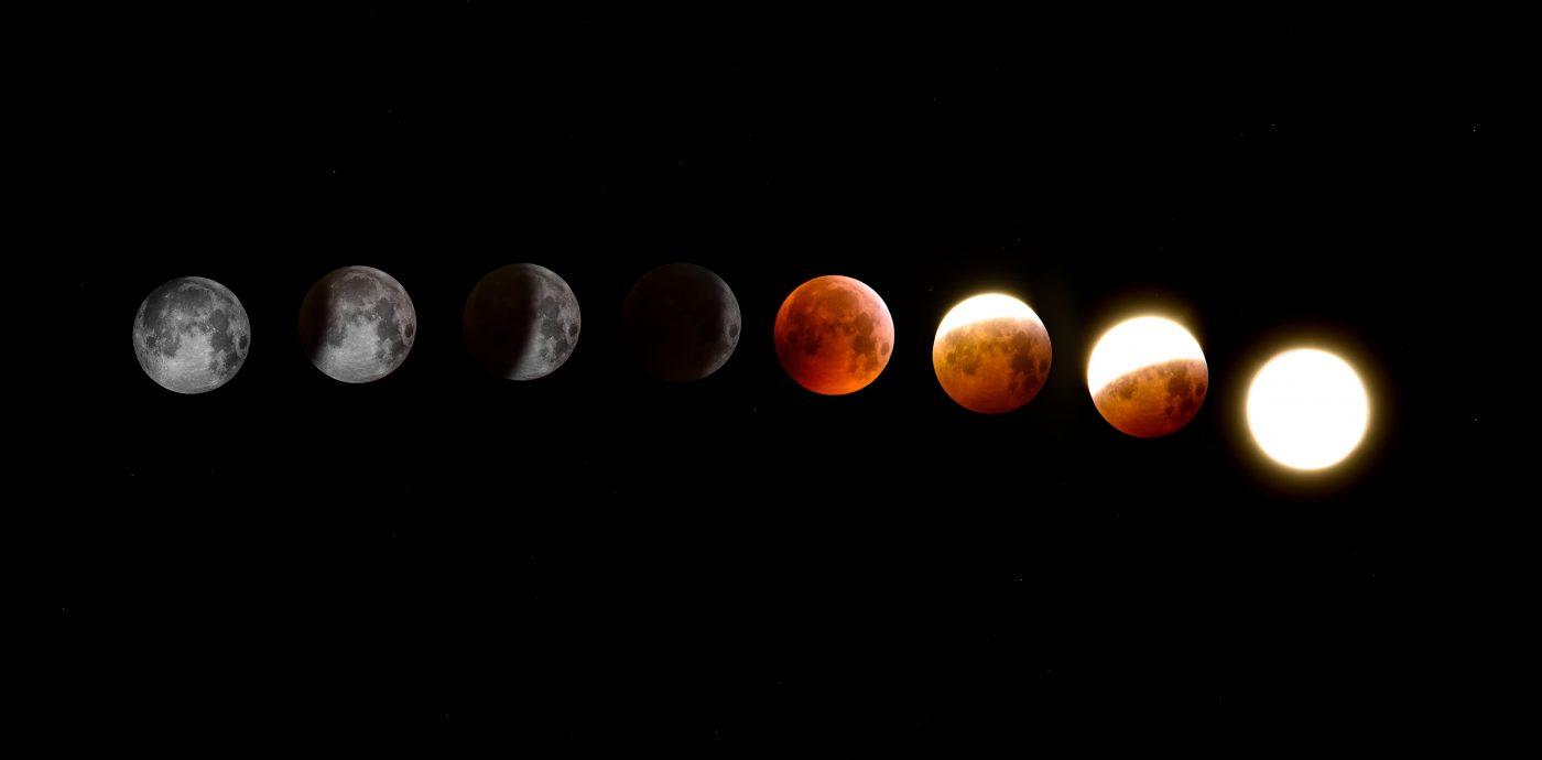 Abbildung der Mondphasen als Inspiration um ein Buch Thema zu finden
