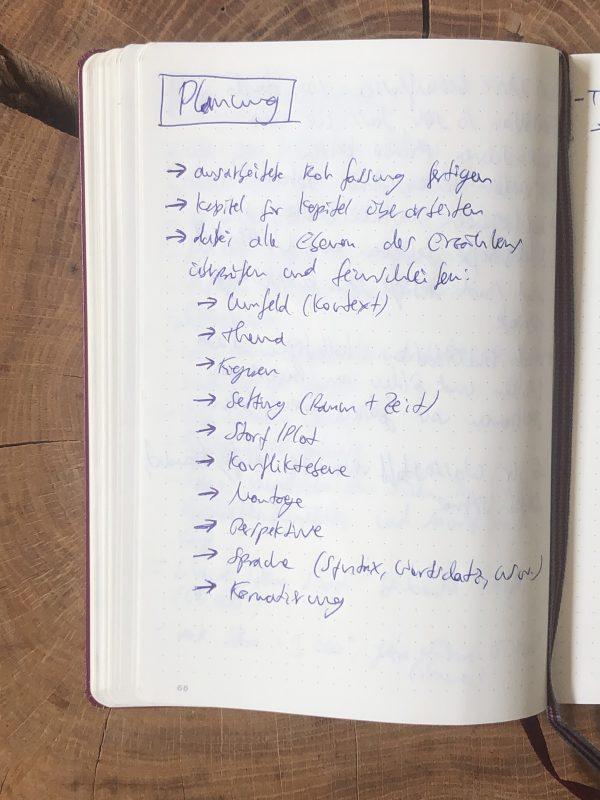Projektbuch Inhalt zum Thema Planung für einen besseren Überblick zum Geschichten schreiben