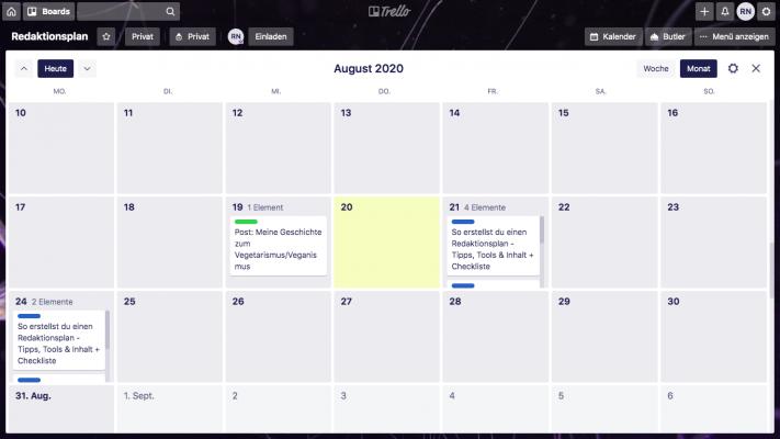 Trello Kalenderansicht als Beispiel für einen Redaktionsplan