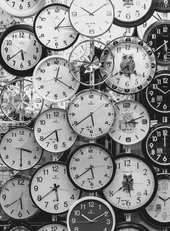 Zeitmanagement Tipps - Eine Wand voller Uhren als Inspiration