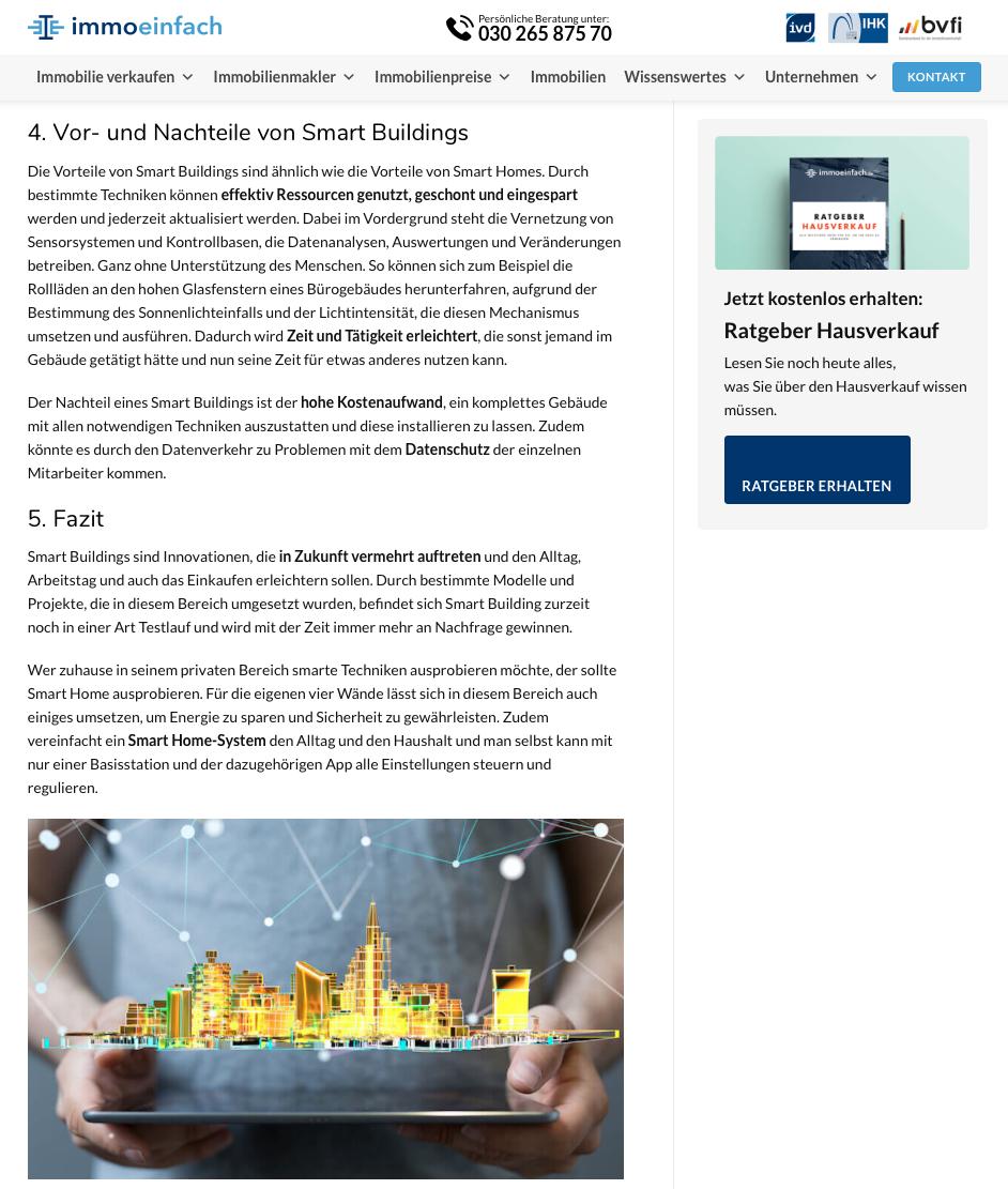Textauszug Blogartikel zum Thema Smart Building immoeinfach